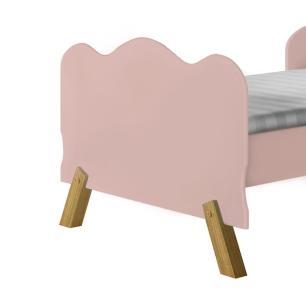 Cama juvenil infantil com colchão e pés em madeira Angel Rosê