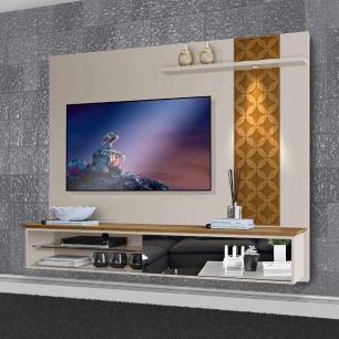 Painel De Tv Para Sala Com Led e Espelho Austrália Carvalho/Off White