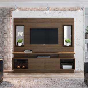 Home Para TV com LED e espelho Petrópolis Nogal café