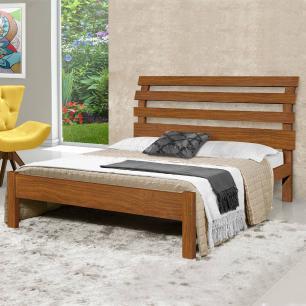 Cama casal de madeira maciça Rebeca Atraente Castanho