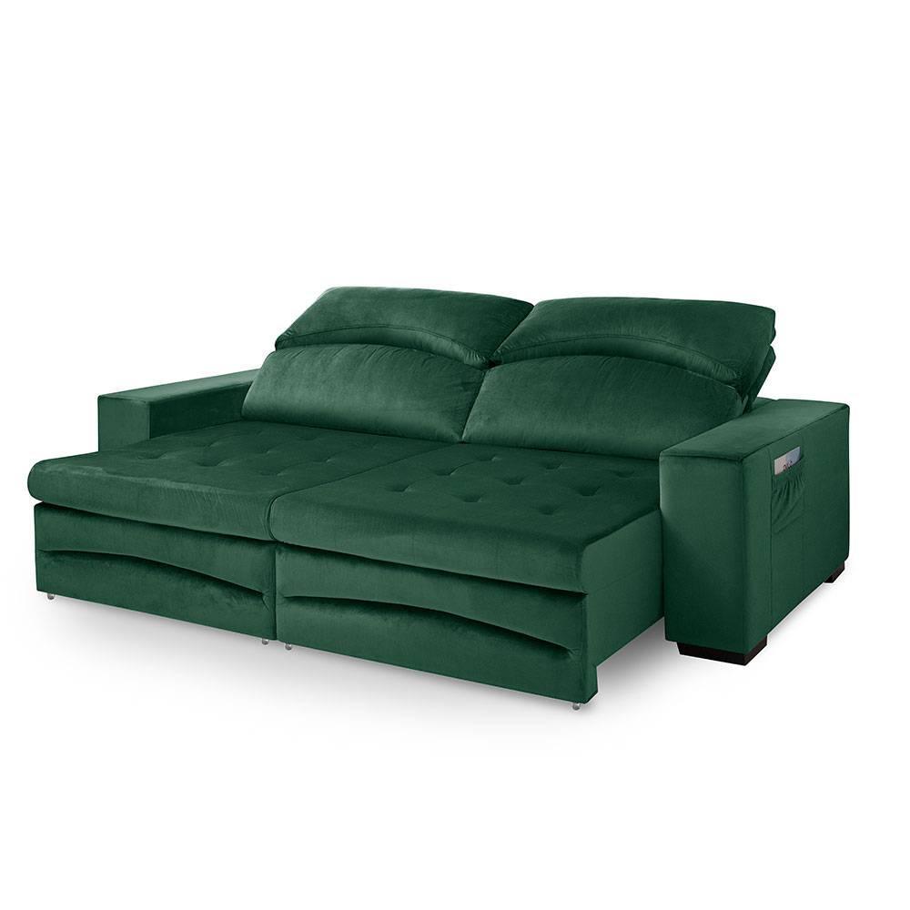Sofa retratil e reclinavel 3 Lugares Veneza Verde A90