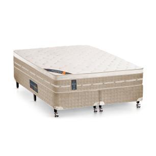 Cama box + Colchão King Size Castor Premium Tecnopedic One face Bege 193 x 203 x 70