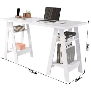 Mesa Escrivaninha Cavalete Para Home Office Basoto Caleb Branco