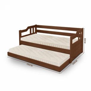 Sofá cama solteiro de madeira maciça com cama auxiliar e colchão Atraente Noce