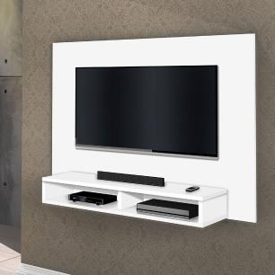 Painel para tv 1 prateleira e 2 nichos Madri Branco