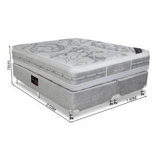 Cama box + Colchão King Size Castor Gold Star Pocket Latex plush Double Face 193 x 203 x 76