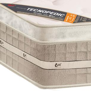 Colchão box Queen Size  Castor Premium Tecnopedic One face Bege 158 x 198 x 30
