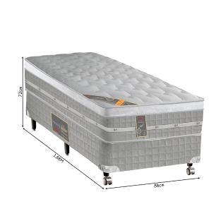 Cama box + Colchão Solteiro Castor Premium Gel One face Prata 78 x 188 x 72