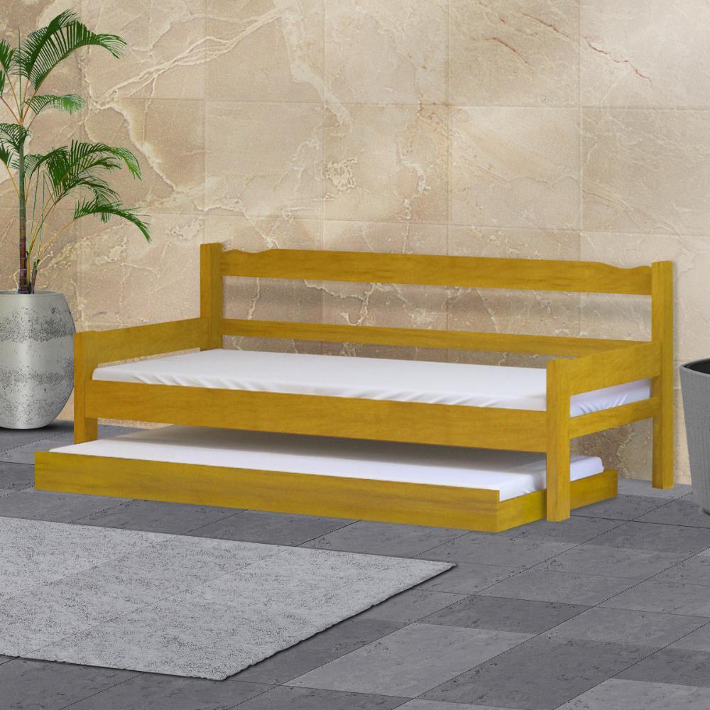 Sofá cama solteiro de madeira maciça com cama auxiliar e colchão Nemargi Cerejeira