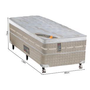 Cama box + Colchão Solteiro Castor Premium Amazon One face bege 88 x 188 x 72