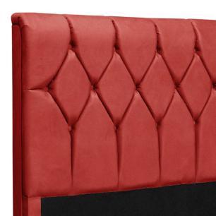 Cabeceira Casal com capitonê para cama box sued liso Paris Vermelho