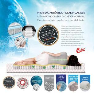 Cama box + Colchão King Size  Castor Premium Gel One face Prata 193 x 203 x 72