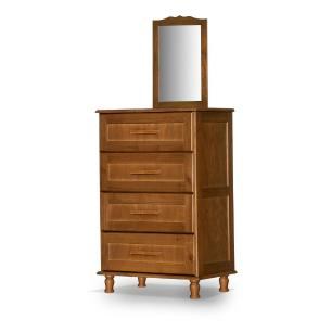 Comoda de madeira maciça com espelho Chicago Atraente castanho