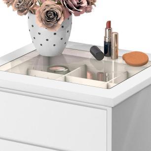 Mesa de Cabeceira para cama 4 gavetas e porta objetos com vidro Decor Potente Branco
