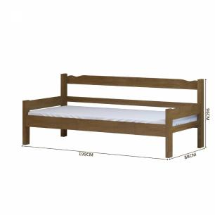 Sofá cama solteiro de madeira maciça com colchão Nemargi Imbuia
