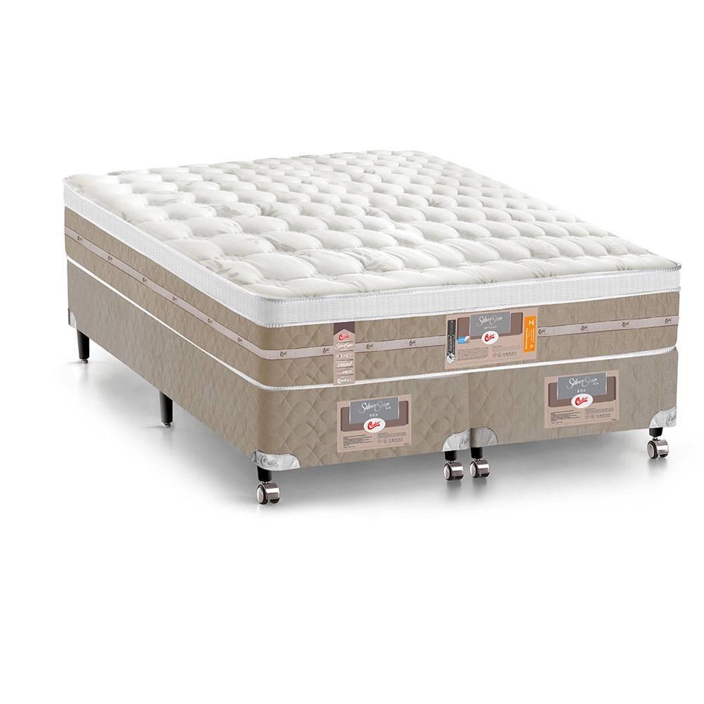 Cama Box + colchão Queen Size Castor Pocket Silver Star Air One Face 72 x 158 x 198