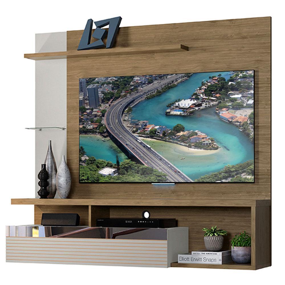 Painel Home para Tv de até 60 polegadas Linea Brasil Tijuca Avelã Off White