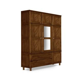 Guarda roupa de solteiro Madeira maciça duplex com espelho Chicago Atraente imbuia