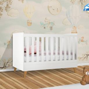 Berço de bebê que vira caminha theo Imazada baby Branco