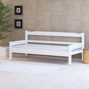 Sofá cama solteiro de madeira maciça Nemargi Branco