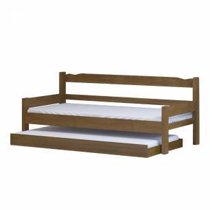 Sofá cama solteiro de madeira maciça com cama auxiliar e colchão Nemargi Imbuia