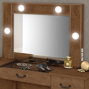 Penteadeira Camarim com Banqueta Luapa Seul com Espelho e Led Malbec