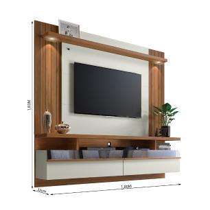 Painel Para Tv Com Led E Espelho São Luís 1.8 Nogueira Off White