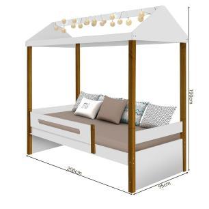 Cama De Solteiro Infantil Casinha Com LED Branco Mel