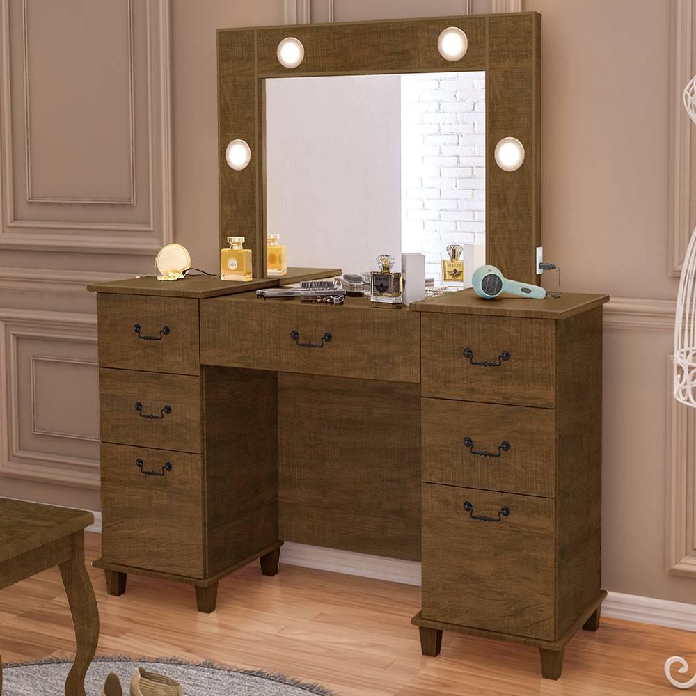 Penteadeira camarim com LED espelho e porta joias 100% MDF Seul Malbec