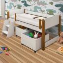 Cama Infantil Com baú e 2 colchões Branco/Mel