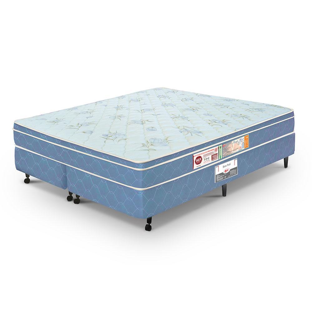 Cama box + colchão Queen Size Castor Espuma D45 Sleep Max 25cm Azul