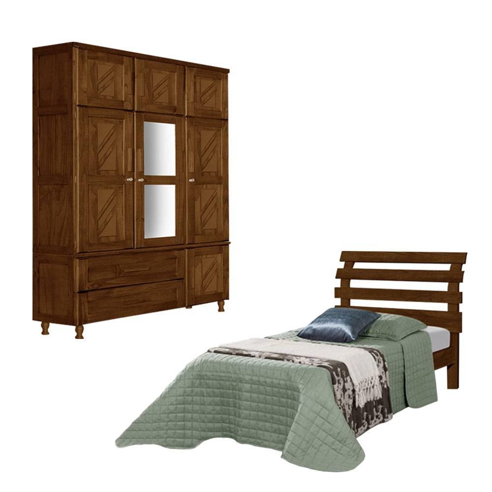 Guarda roupa solteiro duplex + Cama solteiro de madeira maciça Chicago/Rebeca Atraente Imbuia