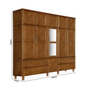 Guarda roupa de casal madeira maciça duplex com espelho Chicago Atraente castanho