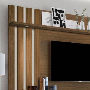 Painel Home para TV Luapa com Led e porta basculante São Paulo Amendoa / Off White