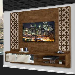 Painel Para Tv Com Espelho Suspenso Arménia Malbec/Off White