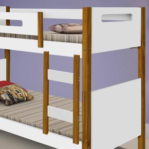 Beliche solteiro com 2 colchões e grade de proteção Divaloto Heloisa Branco e mel