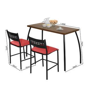 Mesa com duas cadeiras Fit flora Preto e Vermelho
