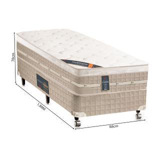 Cama box + Colchão Solteiro Castor Premium Tecnopedic One face Bege 88 x 188 x 70