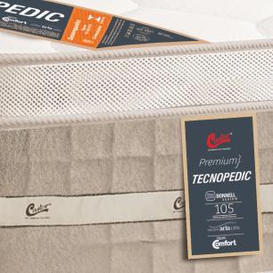 Cama box + Colchão Solteiro Castor Premium Tecnopedic One face Bege 78 x 188 x 70