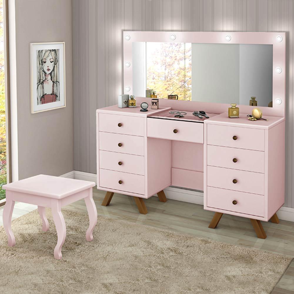 Penteadeira Camarim Com Espelho banqueta e led Luapa móveis Mila Rosê