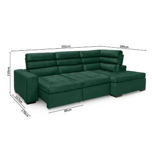 Sofa de Canto retratil e reclinavel com chaise Porto Verde A90