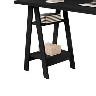 Mesa Escrivaninha Cavalete Para Home Office Basoto Caleb Preto Fosco