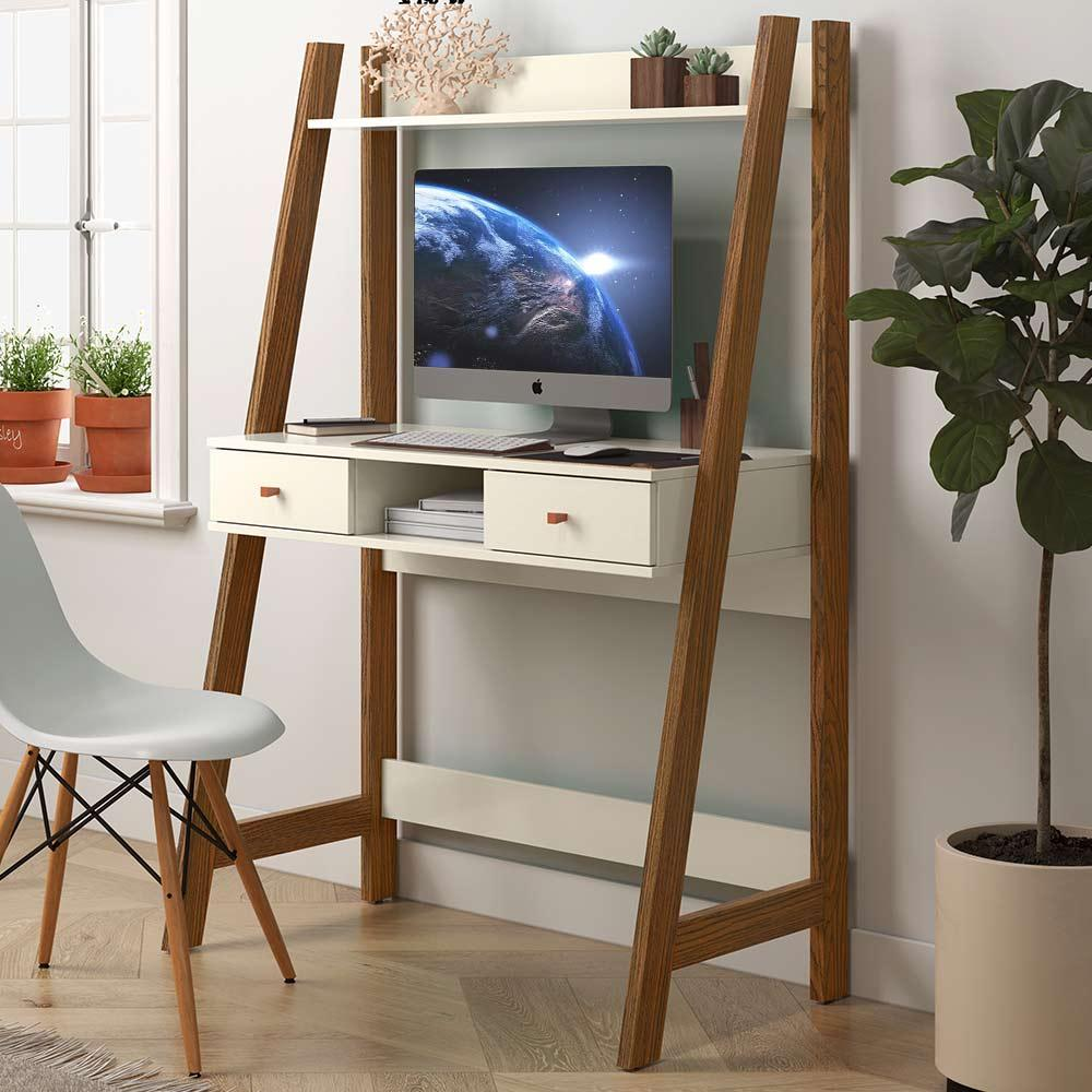 Escrivaninha Para Quarto Home Office Desk Freijó Off White