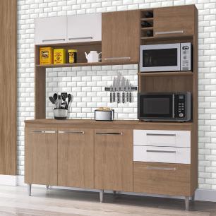 Armário De Cozinha compacta Casamia Blume Nogueira Branco