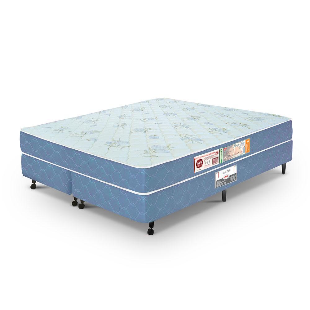 Cama box + colchão Queen Size Castor Espuma D45 Sleep Max 18cm Azul