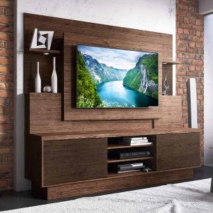 Estante Home Para Tv Com Led Aron Linea Brasil Castanho Wengue
