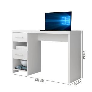 Escrivaninha Branca Home Office Compacta 2 Gavetas