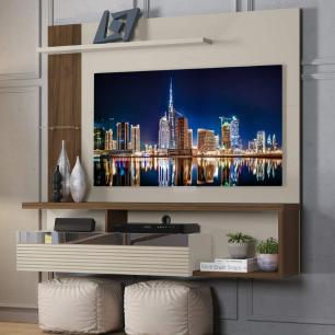Painel para TV de até 60 polegadas Tijuca Linea Brasil Off White Nogueira