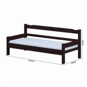 Sofá cama solteiro de madeira maciça com colchão Nemargi Tabaco