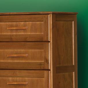 Comoda de madeira maciça 4 gavetas Chicago Atraente castanho